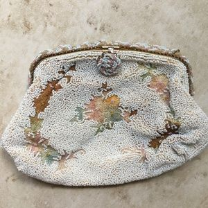 Vintage Beaded purse clutch embroidered flowers
